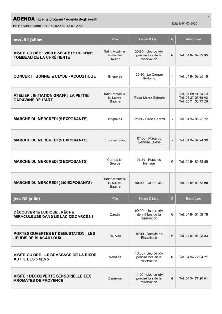 Agenda des sorties du 03 au 12 juillet 2020