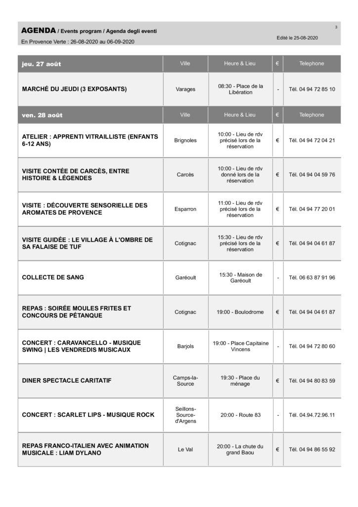 AGENDA DES SORTIES DU 26 août au 06 septembre 2020